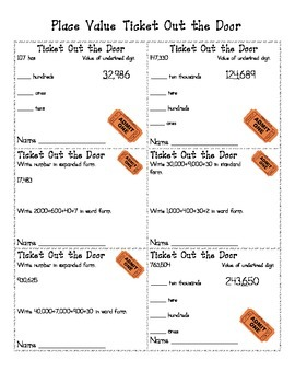 Place Value Ticket Out the Door