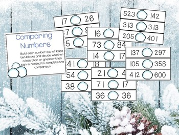 Winter Math Stations Place Value, Time, Addition & Subtraction