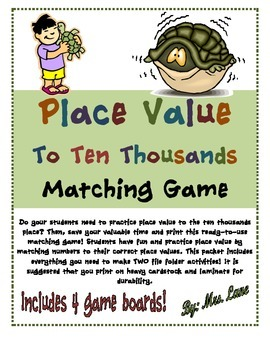 Place Value To Ten Thousands Matching Game (Great Center o