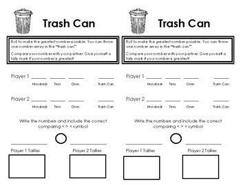 Place Value Trash Can