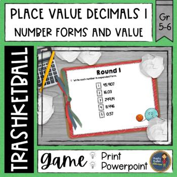Decimals Place Value 1 Trashketball Math Game