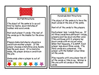 Place Value Treats Card Games