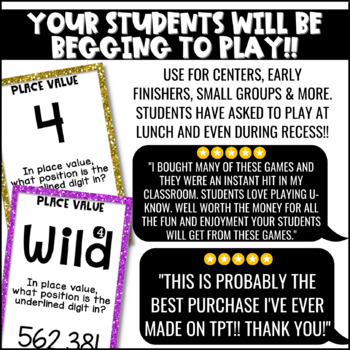 Place Value Game for Math Centers or Stations: U-Know {Whole Numbers & Decimals}