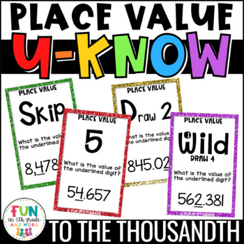 Place Value Game | Math Centers | Whole Numbers & Decimals to the Thousandth