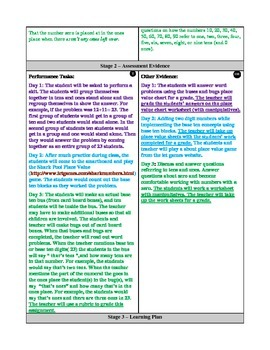 Place Value UbD lesson plan