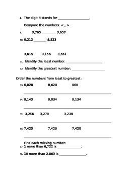 Place Value Unit Assessment