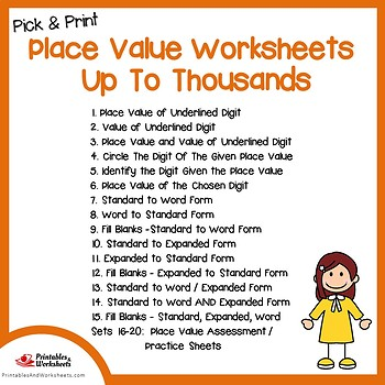 Place Value To Thousands Worksheets, Assessment Sheets