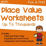 Place Value To Thousands Worksheets, Place Value Through Thousands Worksheets
