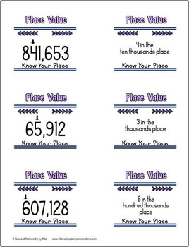 Place Value (Up to 6 digits)