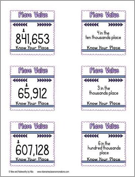 Place Value (Up to 6 digits) ~ Sticky Note Games