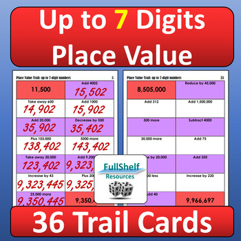 Place Value Up to 7 Digits Task Cards