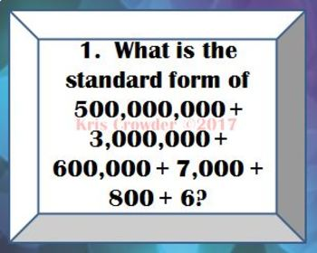Place Value Up to Hundred Millions & Compare & Order Up to Millions VA SOL 4.1ab