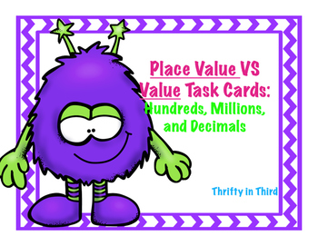 Place Value VS Value Task Cards