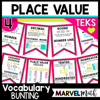 Place Value Vocabulary Bunting 4th Grade by Marvel Math