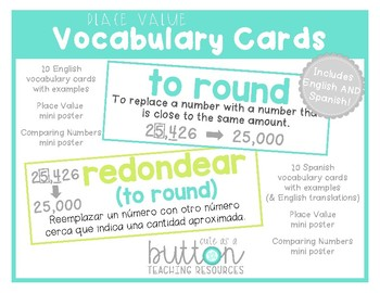 Place Value Vocabulary Cards English/Spanish