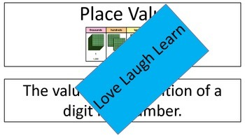 Place Value Vocabulary Cards-Word Wall