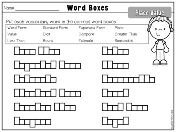Place Value Vocabulary Cards and Word Work Activities