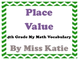 Place Value 4th Grade My Math Vocabulary Posters