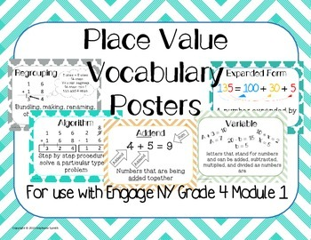 Place Value Vocabulary Posters Word Wall Engage NY Grade 4 Module 1
