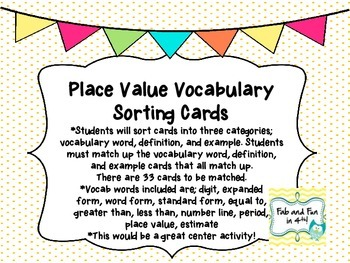 Place Value Vocabulary Sorting Center