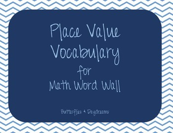 Place Value Vocabulary for Math Word Wall