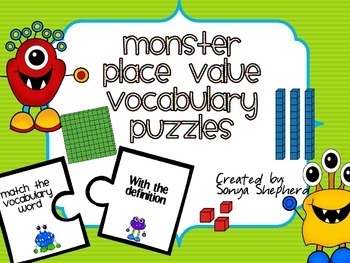 Place Value Vocabulary puzzles freebie