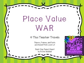 Place Value WAR Center Game