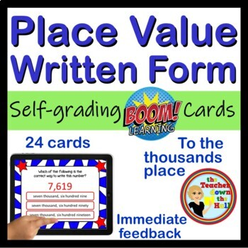 Place Value WRITTEN FORM - BOOM Cards! (24 Digital Task Cards)