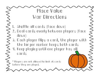 Place Value War Cards