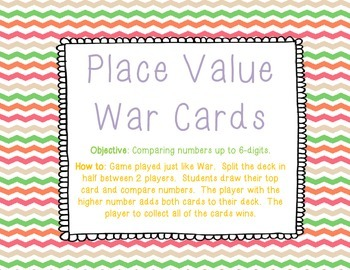 Place Value War Cards - 6-Digits