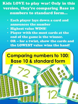 Place Value War - Comparing Base 10 and Standard Form to 100