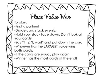Place Value Game for Math Centers