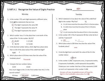 Place Value Weekly Practice Sheets (5.NBT.A)