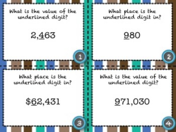 Place Value (Whole Number) Task Cards