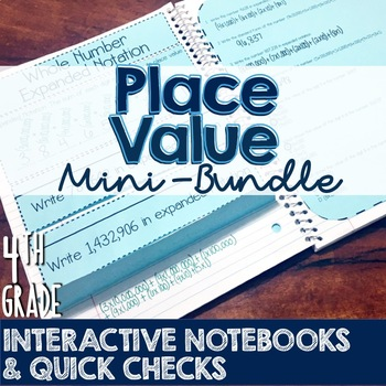 4th Grade TEKS Place Value Interactive Notebook & Quick Check Mini-Bundle