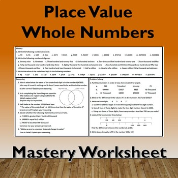 Place Value - Whole Numbers Problem Solving Mastery Worksheet