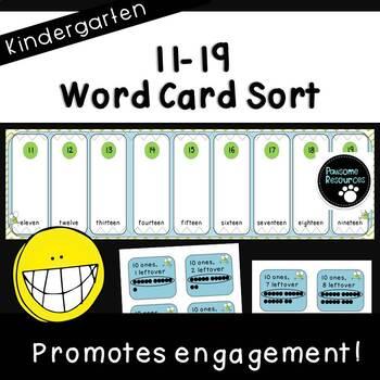 Place Value Word Card Sort (Kindergarten, K.NBT.1)