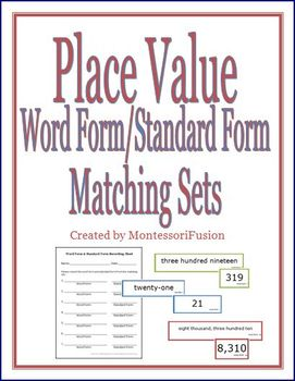 Place Value: Word Form & Standard Form Matching Sets + Recording Sheet