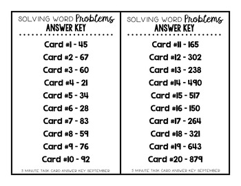 Place Value Word Problem Task Cards-SEPTEMBER