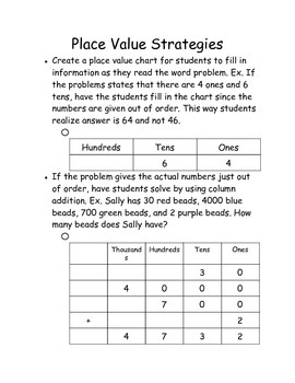 Place Value Word Problems