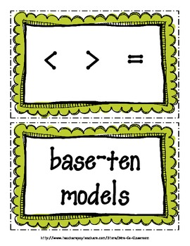 Place Value - Word Wall- Vocabulary Cards