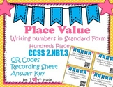 Place Value Word to Standard Form SCOOT with QR Codes Game CCSS 2.NBT.A.3