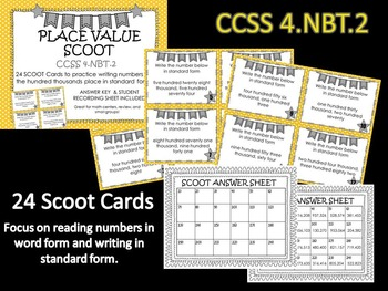 Place Value Word to Standard Form SCOOT Game CCSS 4.NBT.2