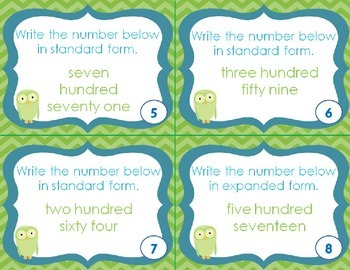 Place Value Word to Standard Form SCOOT/Task Cards CCSS 2.NBT.A.3