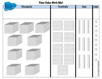 Place Value Work Mat pictorial representation base 10 blocks