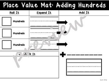 Place Value Work Mats: Hundreds, Tens, or Ones- Roll It, Add It