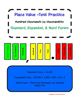 Place Value Station w/Task Cards, Record Sheet, Key