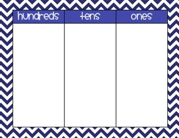 Place Value Workmats in Chevron (Hundreds, Tens, & Ones and Tens & Ones Charts)