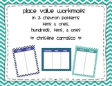 Place Value Workmats in Chevron (Hundreds, Tens, & Ones an