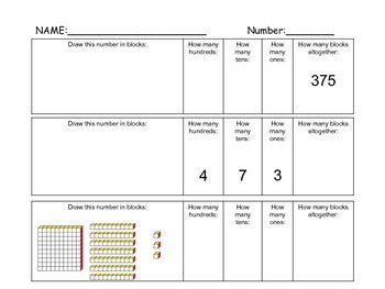 Place Value Worksheet - 2 versions